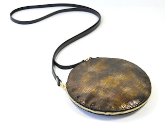 Cici - Handmade Bronze Leather Round Shoulder Bag Zip Pouch Purse SS16