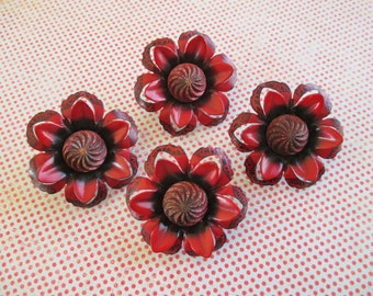 Four Vintage Flower Tacks - Push Pin / Upholstery Tacks / Curtain Pin Backs