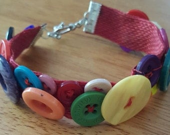 Colorful Button Bracelet with Toggle Clasp