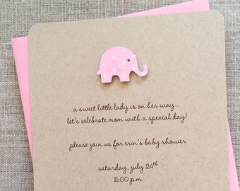 Baby Shower Invitation Girl Elephant