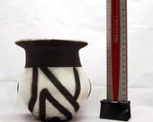 Modern Black and White Raku Pottery Vase