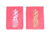 SPRING SALE - Pineapple Dish Towel / Pineapple Tea Towels / Hand Dyed Hand Printed towels / Boho Kitchen / Gold and Silver Decor