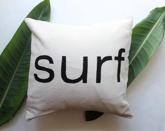 Surf pillow in Cream and Black - Surf Decor - Surf Style - Beach Cottage - Beach House