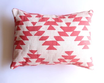 Aztec Design Decorative Lumbar Throw Pillow - Coral Pillow - Summer Decorative Throw Pillow - Geometric Pillow