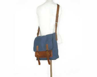 Blue Messenger Bag, Side Bag, Cross Body Bag, School Bag, Recycled Leather Bag, Canvas Bag, Cotton Bag, Leather Strap, Men Messenger Bag