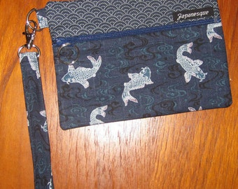 Wrist Strap Zippered Pouch Traditional Japanese Koi and Waves Design