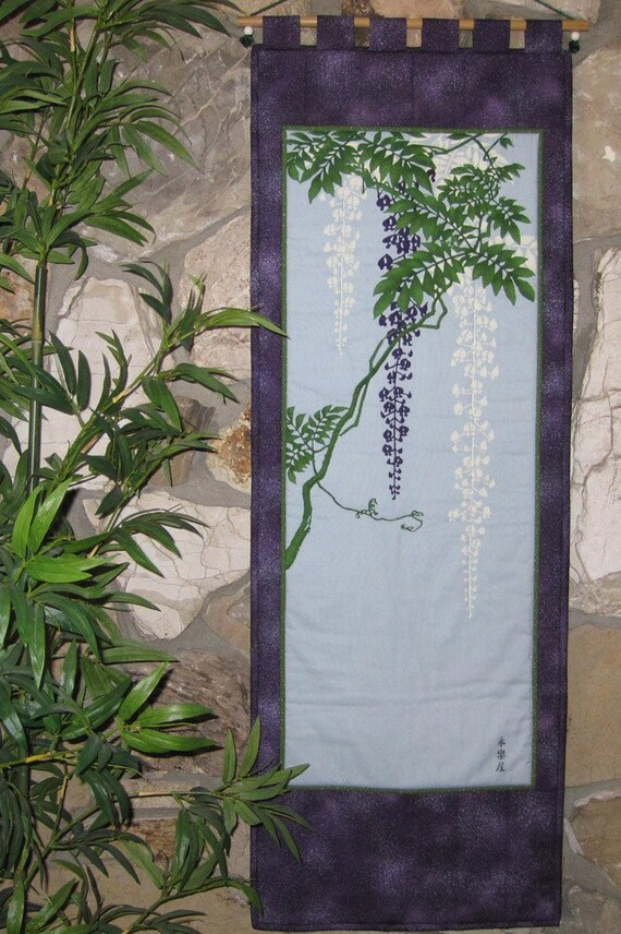 Wisteria Scroll Size Quilted Wall Hanging Japanese Asian Design Tenugui