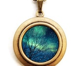 Stars in Space - Photo Locket Necklace - Northern Lights Galaxy Celestial Locket Necklace