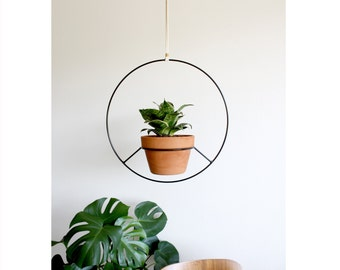 Black Hanging Planter, Plant Hanger, Circular Round Hanging Planters, Mid Century Plant Holder, Outdoor Plant Stand, Boho Home Decor