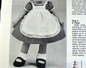 Delia Doll Sewing Pattern Rainie Crawford Pattern Plus Fabric Doll Complete Face Transfer Uncut