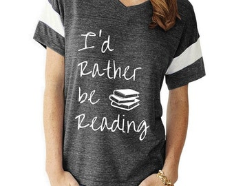 I'd Rather be Reading boho slouchy Powder Puff t shirt tshirt screenprint ladies scoop top