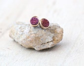 Druzy Studs , Tiny Purple Post Earrings , Gold , Sterling Silver , Rose Gold , Minimalist Everyday Fashion - Micros  ( Aubergine )
