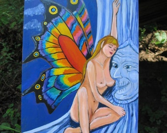 Nude Faerie Painting on Wood with Magic Wise tree under the full Moon Psychedelic