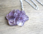 RESERVED Amethyst Carved Flower Pendant Necklace Wire Wrapped in Sterling Silver