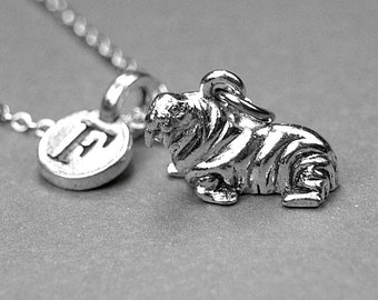 Walrus necklace, walrus charm, silver pewter charm, personalized initial, initial letter, personalized necklace, initial charm, monogram