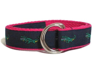 Alligator D-ring Belt Crocodile Belt 1 inch Wide / Preppy Belt for Toddlers Babies / Pink Web Belt Navy Blue Canvas Belt Infant Belt