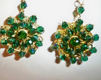 Green Crystal Earrings Handmade with Green Crystal Beads and Gold Filigree Circles