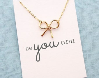 Bow Necklace | Birthday Gift | Gift for Her | Stocking Stuffer | Sentiment Card | Set | Layered Necklace | Silver, Gold or Rose Gold | X03
