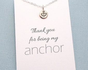 Tiny Anchor Necklace | Nautical Sailor Jewelry | Thank You Gift | Thank You for Being My Anchor | Sterling Silver | X09