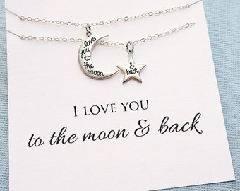 Mother Daughter Necklace | To the Moon and Back, Crescent Moon, Mother Daughter Jewelry Set, Daughter Necklace, Mother Daughter Gift | MD06