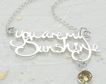 You are my Sunshine song lyric necklace with gorgeous yellow cz
