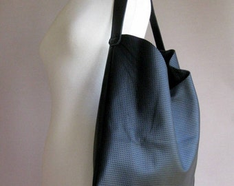 Black Perforated Leather Hobo by Stacy Leigh Ready to Ship