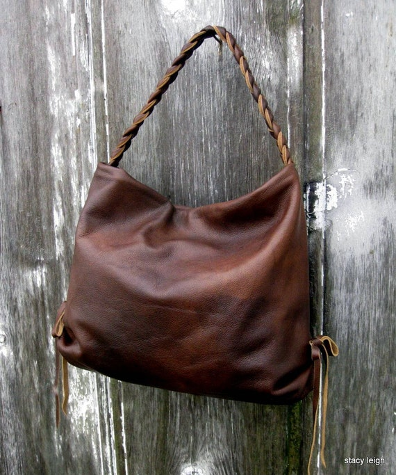 Brown Hand Rubbed Leather Hobo Bag by Stacy Leigh