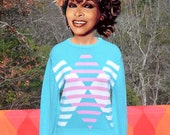 vintage 70s izod LACOSTE sweater crewneck preppy green pink 80s Medium Small