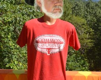 vintage 80s tee shirt COMMON GROUND rhinestones longhorns ranch t-shirt Large Medium wtf