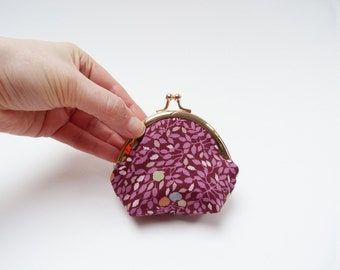 Coin purse, Liberty fabric, purple leaf design, cotton pouch