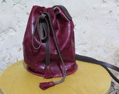 Cherry Red Leather Drawstring Bag