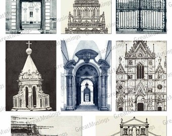 Architecture background Images Digital Collage Sheet Download graphics ACEO ATC No.105