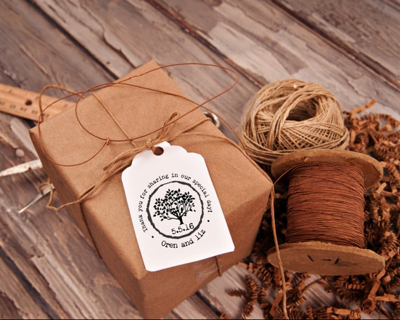 Custom made wedding stamp for DIY wedding favors with a tree and rustic font--13045-CB17-000