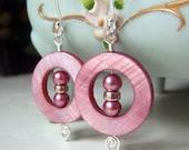 Dusty Rose Earrings, Mother of Pearl Earrings Sterling Silver Dangle, Framed Pearl Earrings, Dusky Rose Round