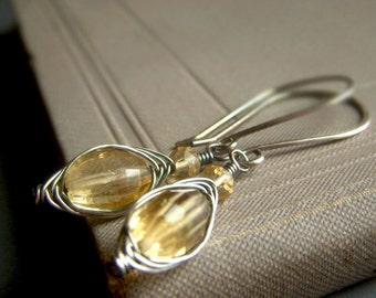Citrine Herringbone Weave Earrings Oxidized Sterling Silver, Genuine Gemstone Wirewrapped Dangle, Honey Yellow Earrings, Handmade Earrings