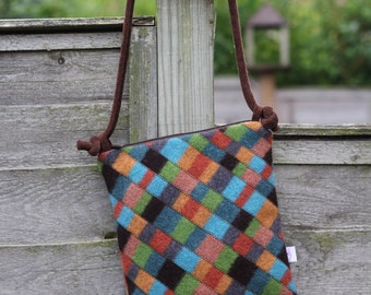 Cross Body Style Colorful Wool Purse in Golds Browns and Greens and Blues