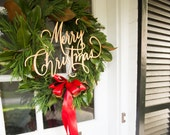 Wooden Merry Christmas Wreath Signs - GOLD
