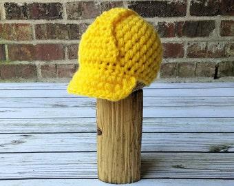 Baby Construction Hat , Hard Hat , Helmet , Work Hat , Crochet Baby Hat , Newborn Photography Prop  , Halloween costume for Baby to Adult