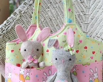 Bag O'Bunnies: felt bunny pattern, felt toy bunny, bunny plush pattern,bunny sewing PDF, bunny doll pattern, tote, child's bag pattern