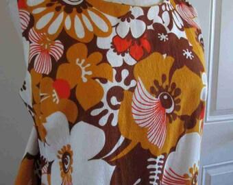 Orange Flowers Hawaiian dress 60s Vintage Maxi dress Tiki Gold and Brown dress Keyhole Back Unique style Polynesian dress metal zipper M L