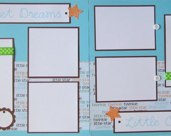 Scrapbook Layout for BaBy BoY -- SWEET DREAMS LittLe ONE -- 12x12 Premade Scrapbook Pages