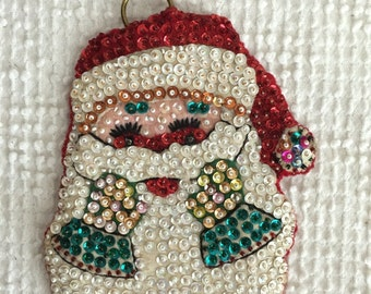 Vintage Handmade Beaded and Sequined Santa Claus Christmas Ornament or Small Wall Hanging