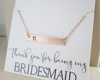 Rose gold necklace, personalized bridesmaid necklace, initial necklace, initial bar, blush pink wedding jewelry, horizontal bar necklace
