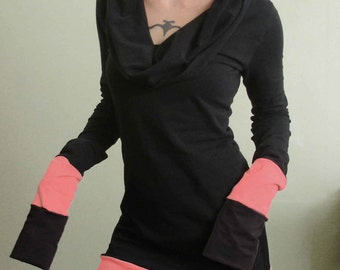 cowl tunic dress /extra long sleeves Black with Coral Pink