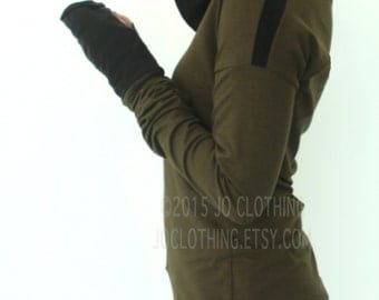 extra long sleeved hooded top/ dolman cut sleeves/ Dark Olive and Black