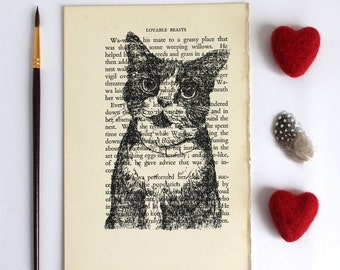 Inky Cat Print on Vintage Book Page from Lovable Beasts
