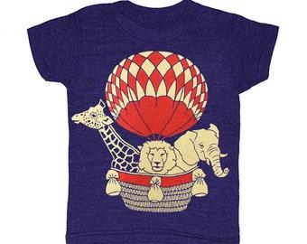 KIDS Hot Air Balloon - T-shirt Boy Girl Children Toddler Youth Tee Shirt Zoo Africa Safari Animal Lion Giraffe Elephant Cute Adorable Tshirt