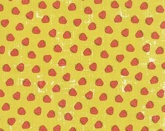Strawberry Fabric, Novelty fabric, Yellow fabric, Mustard, Fruit fabric, Kitchen, Decor fabric, Tim and Beck by Moda- Fat Quarter to Yardage