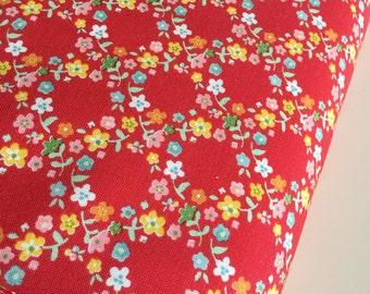 Backyard Roses fabric, Backyard Roses Wreath in Red fabric, Discount fabric, Riley Blake Fabrics, Fabric by the yard, Choose your cut