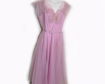 Vintage 1950's Lavander Pink Party Prom Dress B38 W27